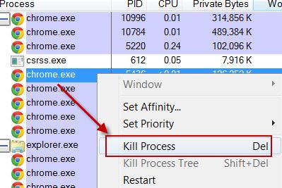 Killing a process
