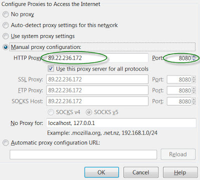 Proxy configuration on Firefox