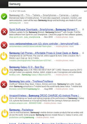 Blekko search for Samsung
