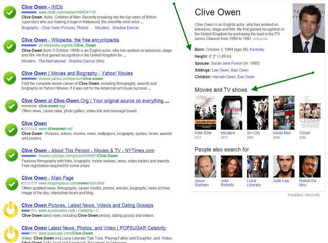 Google search for Clive Owen