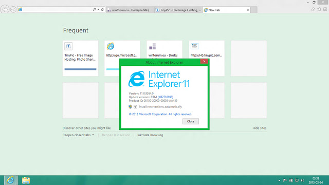 Internet Explorer 11 on Windows 8 Blue