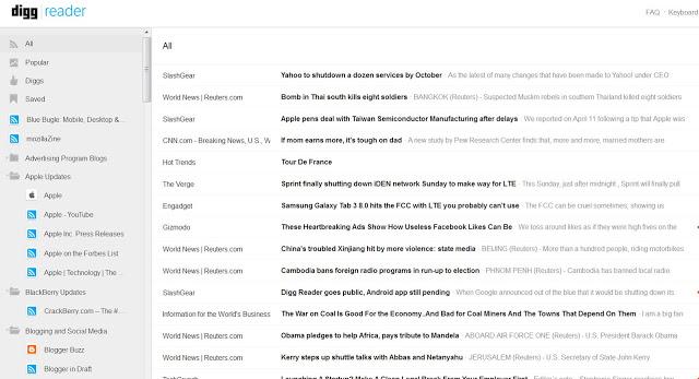 Digg reader page